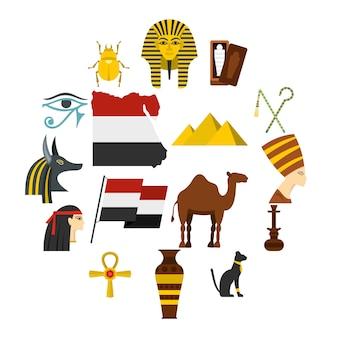 Le icone degli oggetti di viaggio dell'egitto hanno messo nello stile piano