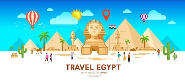 Persone di viaggio in egitto. piramide tradizionale