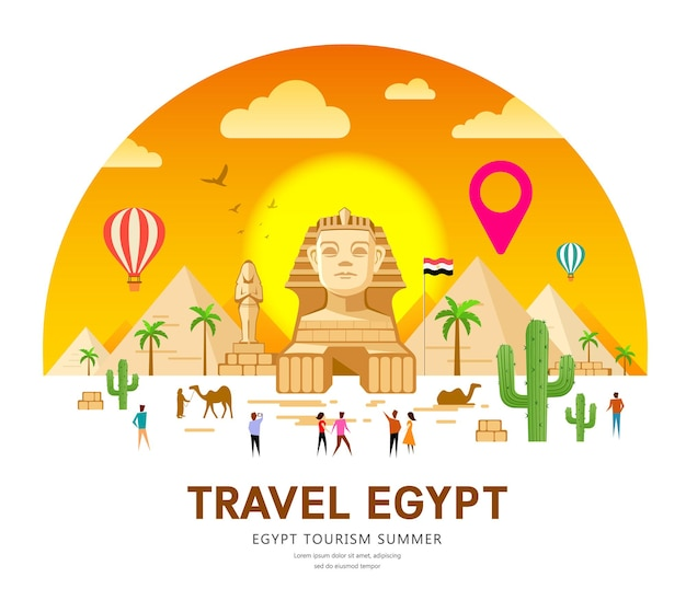 Viaggio in egitto. design tradizionale a piramide.