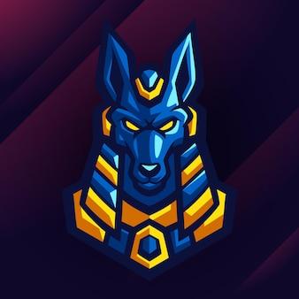 Lupo egiziano fantastico logo design
