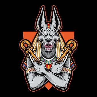 Anubis egiziano logo illustrazione