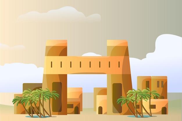 Paesaggio egiziano dell'illustrazione del cairo per un'attrazione turistica