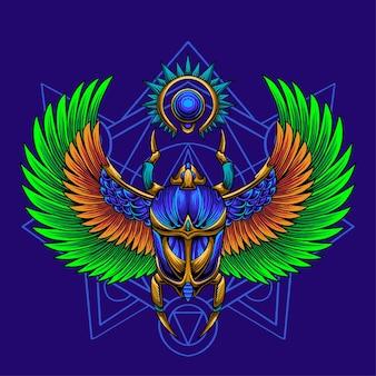 Vettore premium dell'illustrazione di scarabeo del re egizio