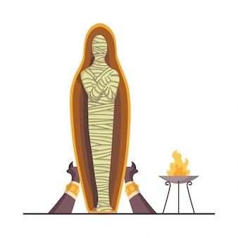 Mummia egizia. sarcofago di archeologia antica. tomba del faraone. esposizione museale con reperti dell'antico egitto. cadavere bendato. religione e mitologia. antica cultura egiziana