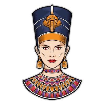 Illustrazione egiziana di logo di nefertiti