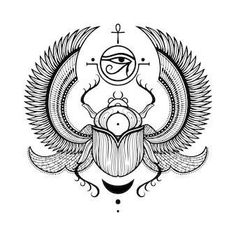 Illustrazione grafica di scarabeo egiziano