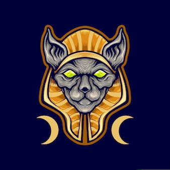 Mascotte del logo del gatto spinx egiziano