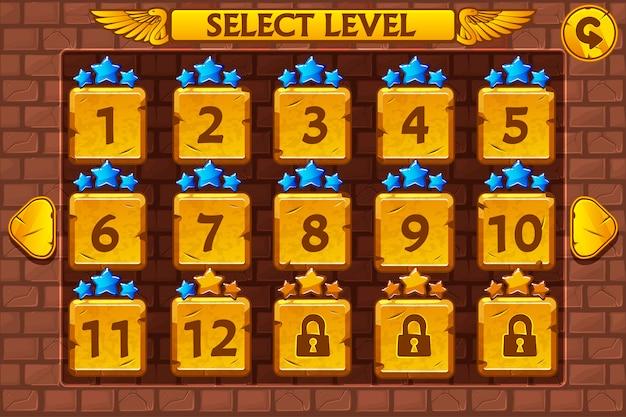 Schermata di selezione del livello in stile egiziano. gioco impostato