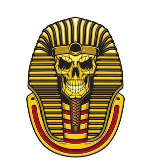 Teschio di faraone egiziano tutankhamon, maschera d'oro del re dell'antico egitto