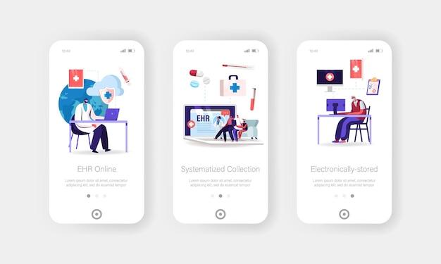 Ehr, modello di schermata della pagina dell'app mobile per cartelle cliniche elettroniche.