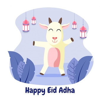 Cartolina d'auguri di eid adha mubarak con illustrazione piatta capra felice