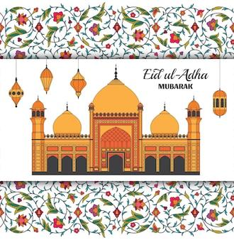 Eid al adha sfondo moschea araba islamica lanterne arabesco motivo floreale rami con fiori...
