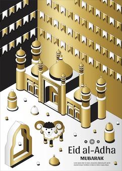 Eid al adha sfondo isometrico islamico arabo moschea lanterne e pecore biglietto di auguri festival di ...