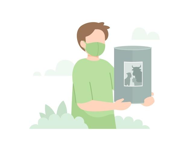 Lo sfondo di eid al-adha con un uomo tiene un'illustrazione della scatola di carità