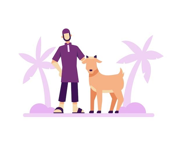 Eid al adha sfondo con un uomo musulmano e illustrazione di capra