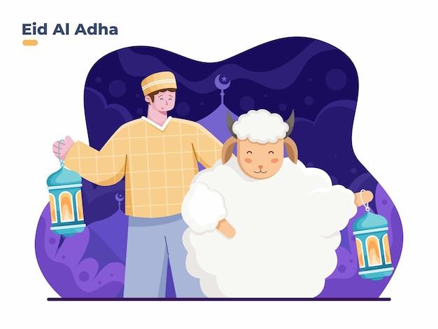 Illustrazione piatta di eid al adha con persona musulmana e animale di capra con lanterne che portano