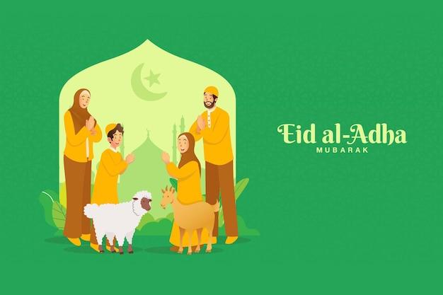 Biglietto di auguri eid al adha. famiglia musulmana del fumetto che celebra eid al adha con una capra una pecora per animale sacrificale