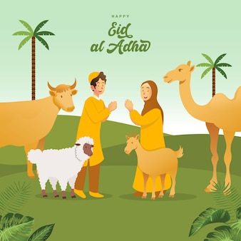 Biglietto di auguri eid al adha. bambini musulmani svegli del fumetto che celebrano eid al adha con animali sacrificali