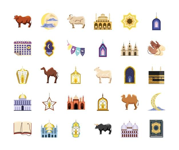 Set di icone di eid al adha