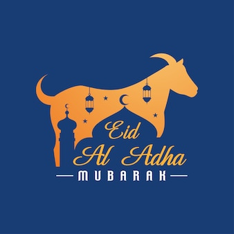 Eid al adha mubarak sfondo con capra
