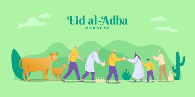 Concetto di saluto di eid al adha mubarak. illustrazione della condivisione della carne dell'animale sacrificale che è stato tagliato