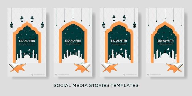 Post di storie di design piatto banner eid al fitr. colore verde