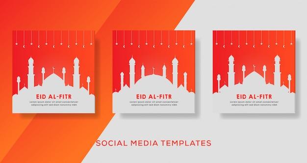 Banner di eid al fitr per post di instagram sui social media.