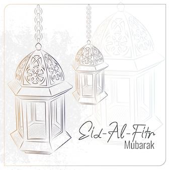 Cartolina d'auguri di eid al fitr con il fondo arabo disegnato a mano della lampada
