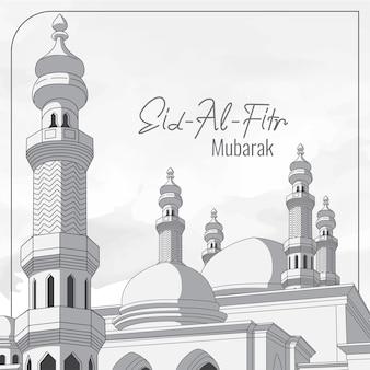 Cartolina d'auguri di eid al fitr con il fondo della moschea