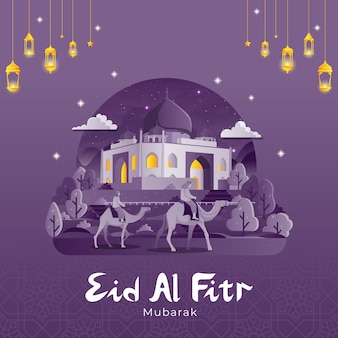Biglietto di auguri di eid al fitr con persone in cammello alla moschea