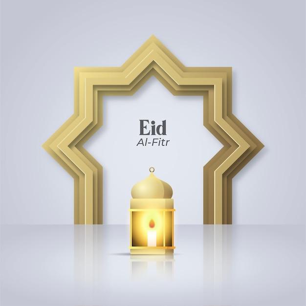 Eid al fitr disegno del modello di saluto islamico