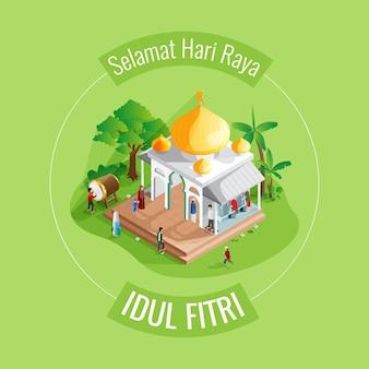 Cartolina d'auguri della moschea di eid al fitr in isometrica