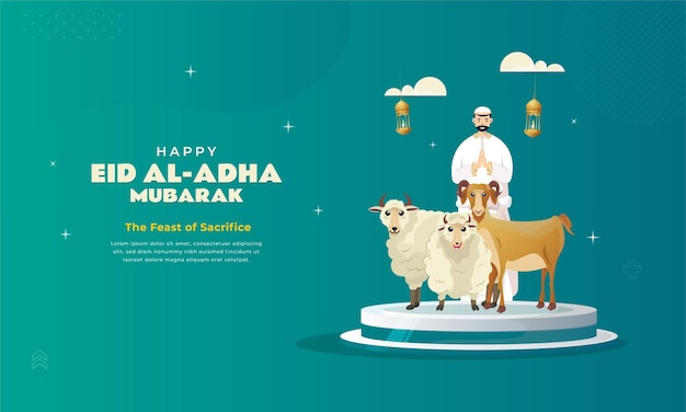 Eid aladha saluto con carattere musulmano e animali sacrificali