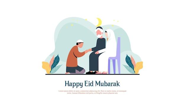 Le famiglie di eid alfitr si visitano la tradizione delle illustrazioni di eid