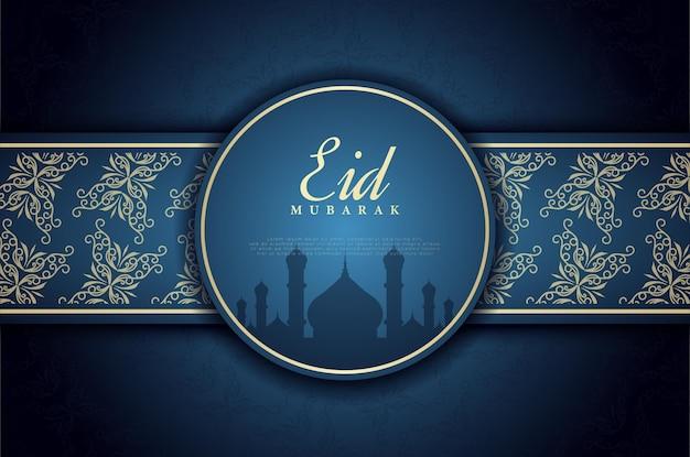 Sfondo di eid mubarak con ornamento del cerchio