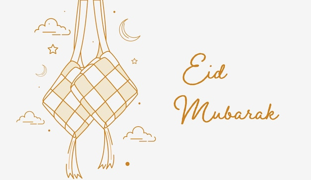 Sfondo di eid mubarak con stile di arte linea ketupat appeso