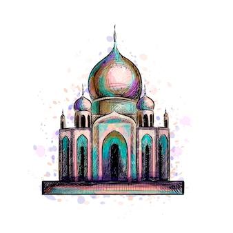 Celebrazione di eid mubarak. islam, ramadan kareem. moschea musulmana, oggetto di architettura. punto di riferimento culturale orientale. illustrazione