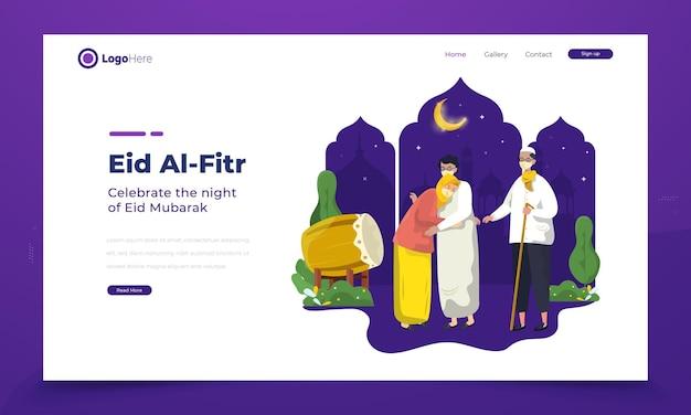 Celebrazione di eid mubarak con illustrazione di una giovane donna che chiede scusa ai genitori