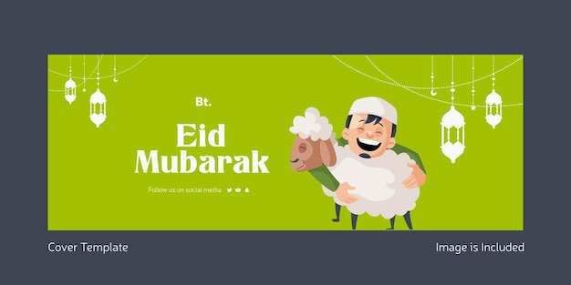 Eid mubarak frontespizio in stile cartone animato eid mubarak
