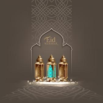 Illustrazione del fondo di progettazione di eid mubarak per il manifesto e la bandiera della cartolina d'auguri