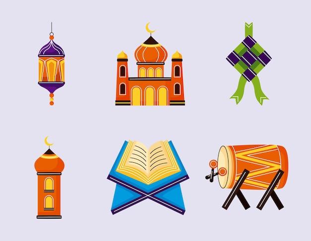 Insieme di elementi di eid mubarak
