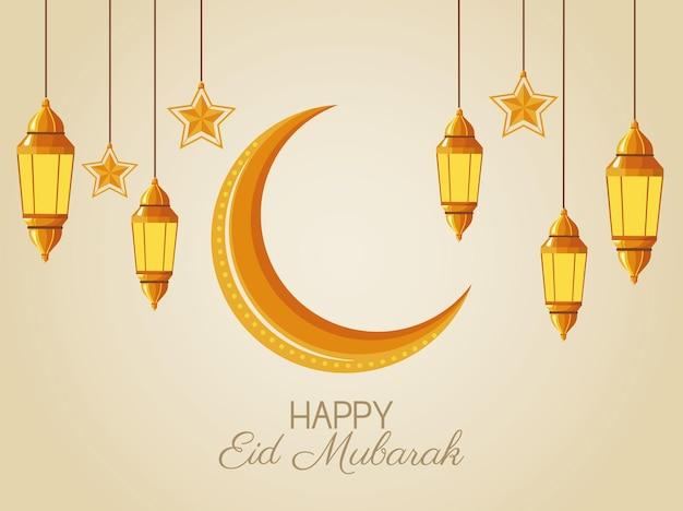 Cartolina d'auguri di eid mubarak con falce di luna