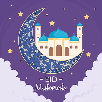 Cartolina d'auguri di eid mubarak con moschea e falce di luna