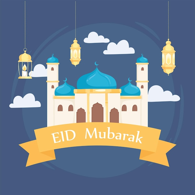 Biglietto di auguri eid mubarak con moschea e lanterne