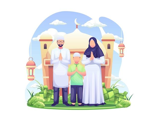 Saluto di eid mubarak e saluto del ramadan con illustrazione di una famiglia musulmana