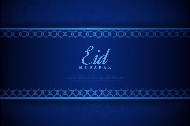 Eid mubarak sfondo blu di lusso