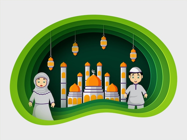 Illustrazione di arte di eid mubarak origami vettore premium