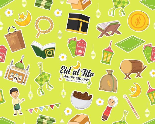 Modello senza cuciture di eid mubarak