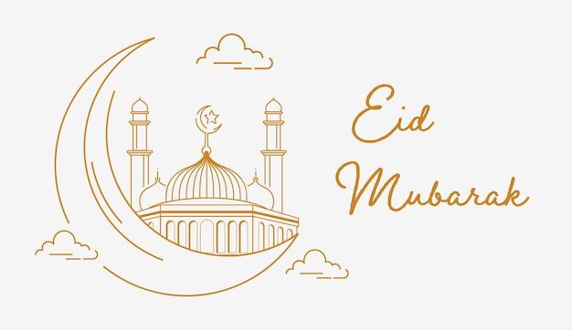 Modello eid mubarak con stile arte linea