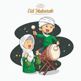 Eid mubarak con il vettore islamico disegnato a mano dell'illustrazione
